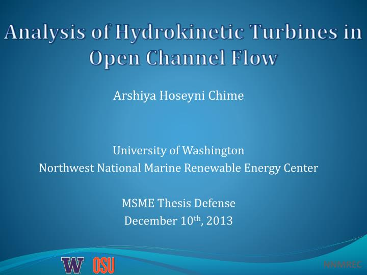 analysis of hydrokinetic turbines in open channel flow n.