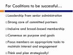 for coalitions to be successful