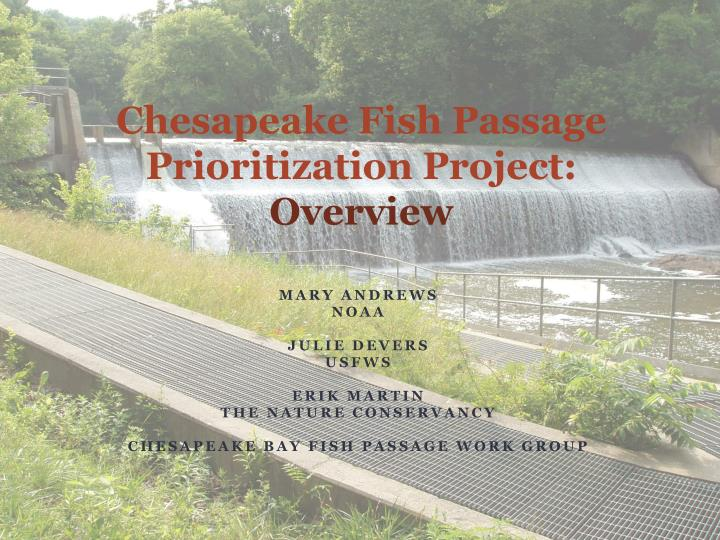 chesapeake fish passage prioritization project overview n.