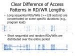 clear difference of access patterns in rd wr lengths