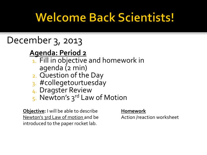 welcome back scientists n.