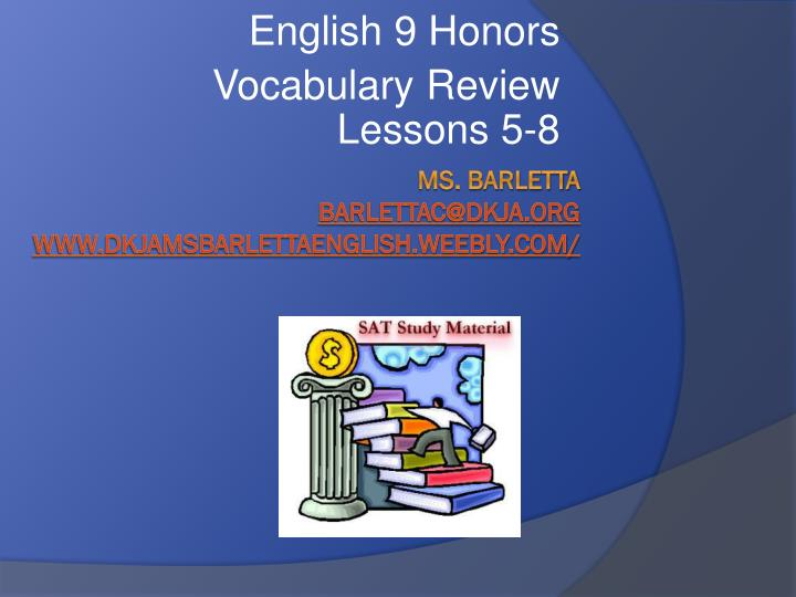english 9 honors vocabulary review lessons 5 8 n.