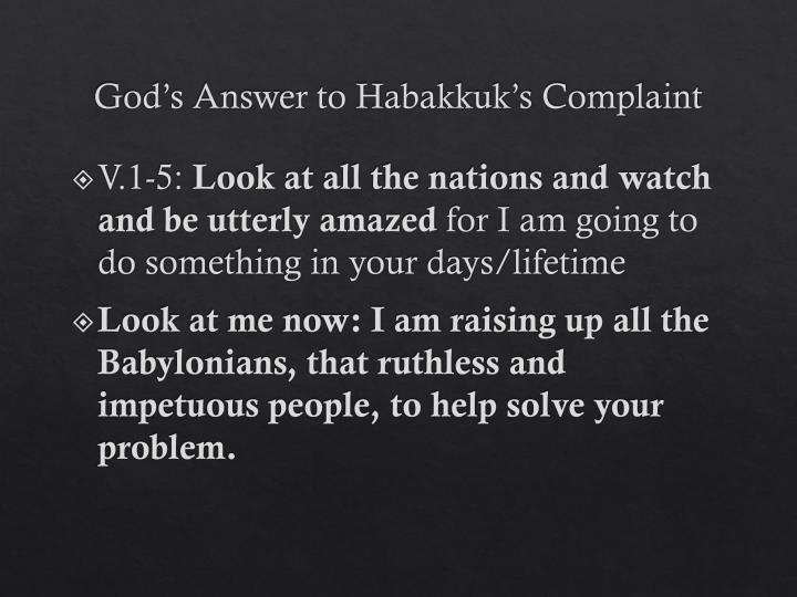God's Answer to Habakkuk's Complaint
