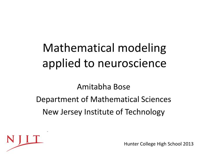 mathematical modeling applied to neuroscience n.