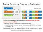 testing concurrent program is challenging