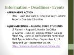 information deadlines events