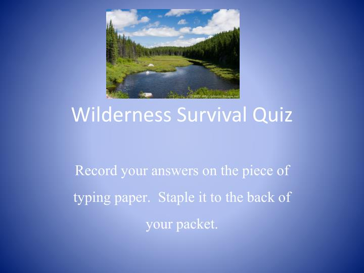 wilderness survival quiz n.