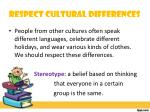 respect cultural differences