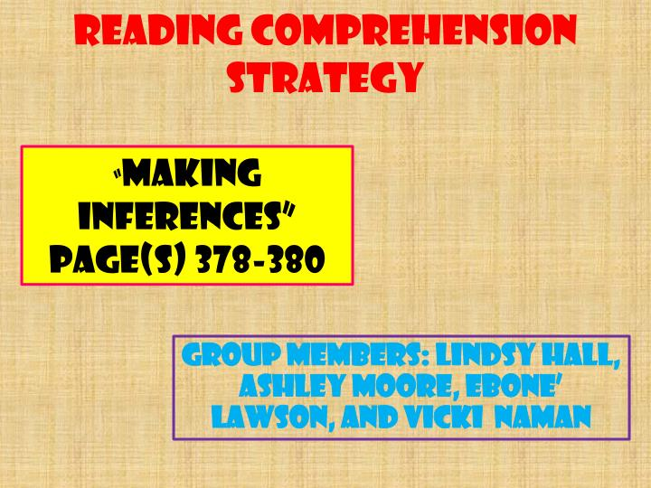 reading comprehension strategy n.