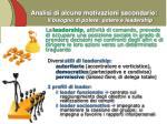 analisi di alcune motivazioni secondarie il bisogno di potere potere e leadership