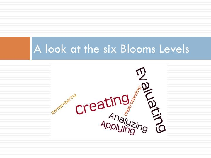 A look at the six Blooms Levels