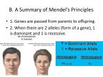 b a summary of mendel s principles
