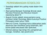 perkembangan sosiologi