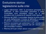evoluzione storica legislazione sulla crisi