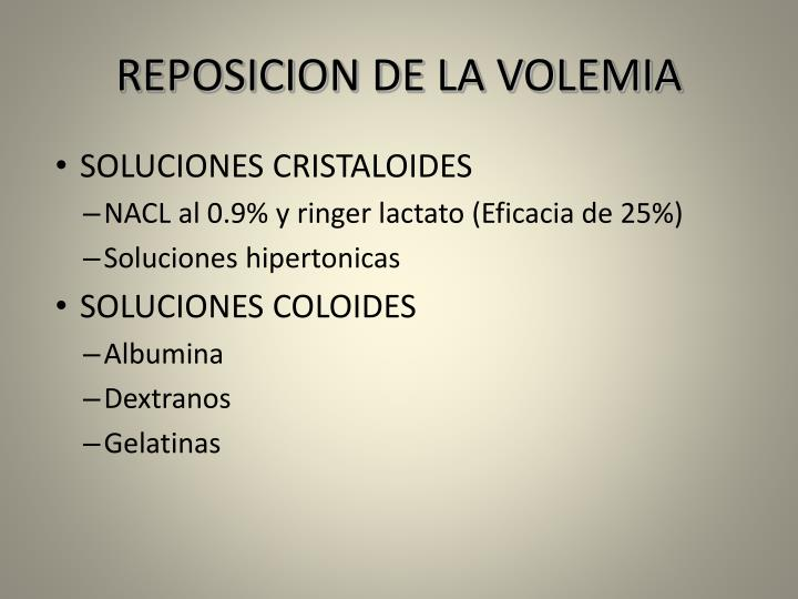 REPOSICION DE LA VOLEMIA