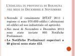l edilizia in provincia di bologna nei mesi di dicembre e novembre