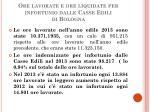 ore lavorate e ore liquidate per infortunio dalle casse edili di bologna