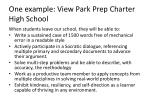 one example view park prep charter high school
