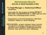 administrative record roles responsibilities