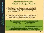 administrative record what is the project record1