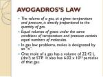 avogadros s law