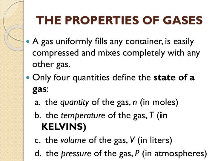 the properties of gases n.