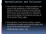 normalization and inclusion