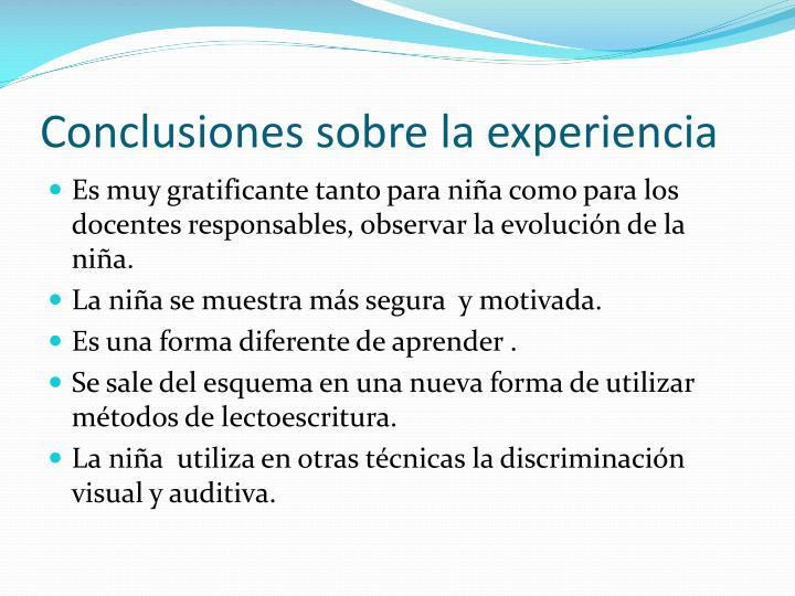 Conclusiones sobre la experiencia