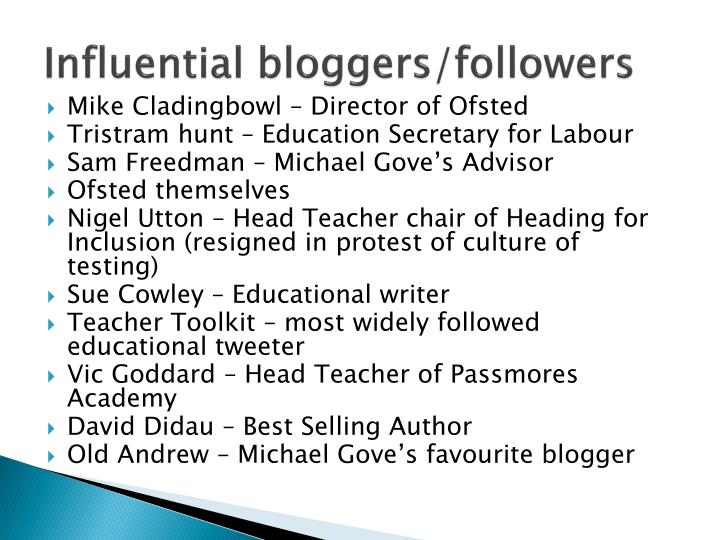 Influential bloggers/followers