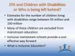 efa and children with disabilities or who is being left behind