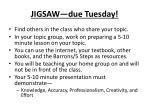jigsaw due tuesday