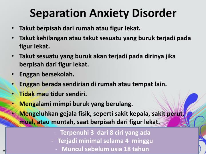separation anxiety essay Separation anxiety is a normal part of the childhood experience and can be observed at different ages in the child's life this essay explores some of the reasons for separation anxiety and parental behaviors that can ease the distress children feel when facing a separation.