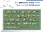 dse prediction of the pion s valence quark distributions1