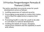 9 prioritas pengembangan pemuda di thailand 1994