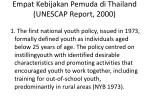 empat kebijakan pemuda di thailand unescap report 2000