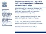 department of computer linguistics and artificial intelligence recent and current research areas1
