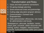 transformation and roles