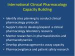 international clinical pharmacology capacity building