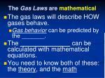 the gas laws are mathematical
