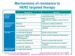 mechanisms of resistance to her2 targeted therapy