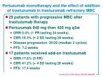 pertuzumab monotherapy and the effect of addition of trastuzumab in trastuzumab refractory mbc