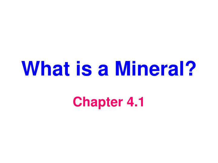 what is a mineral n.