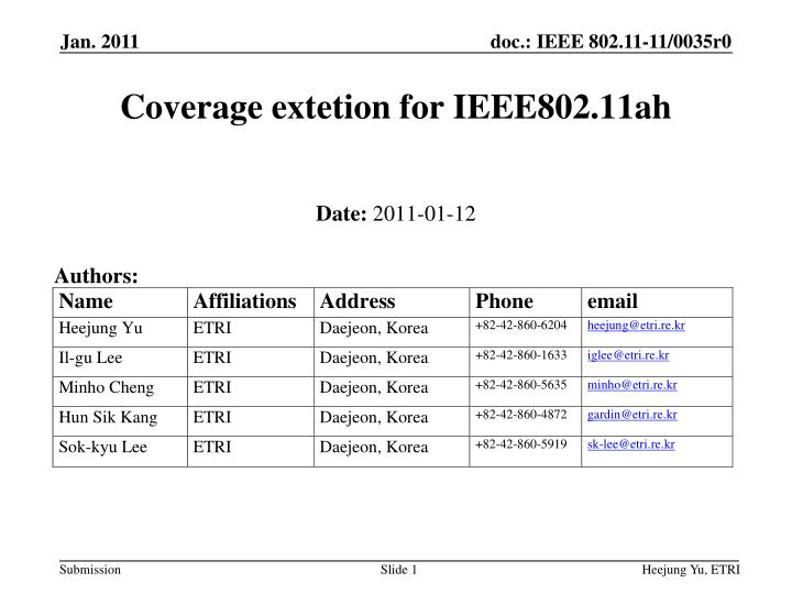 coverage extetion for ieee802 11ah n.