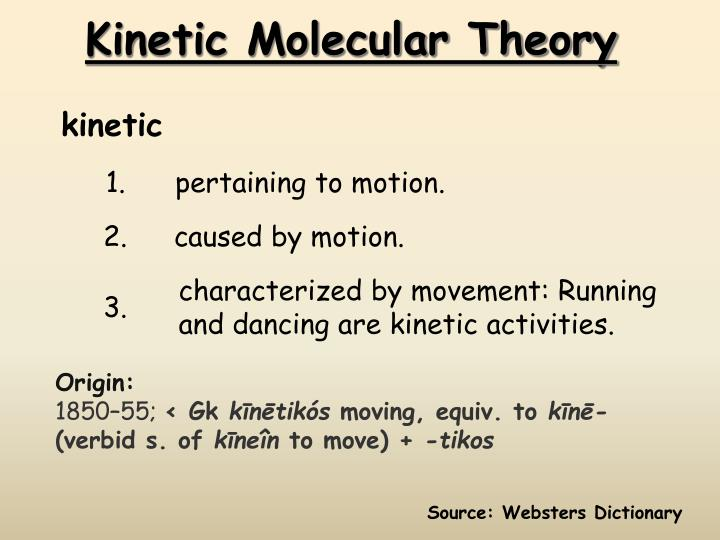 kinetic molecular theory n.