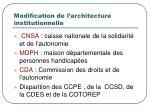 modification de l architecture institutionnelle