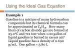 using the ideal gas equation