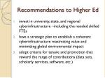 recommendations to higher ed