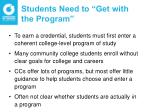students need to get with the program