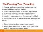 the planning year 7 months