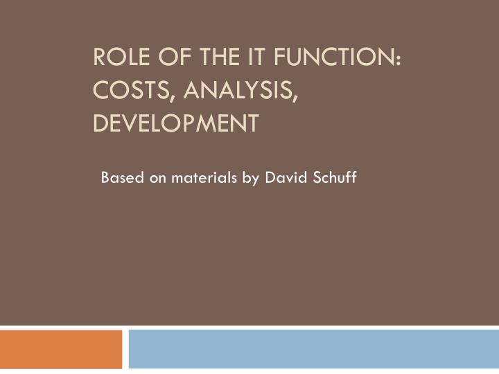role of the it function costs analysis development n.